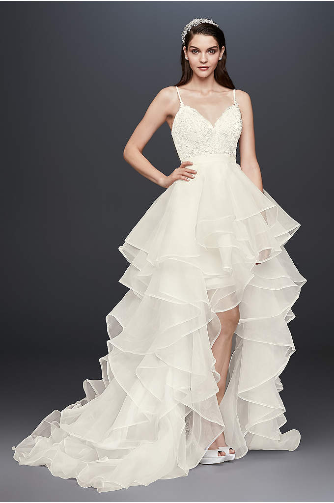 Beaded Lace and Organza Two-Piece Wedding Dress - This captivating high-low wedding dress is actually a