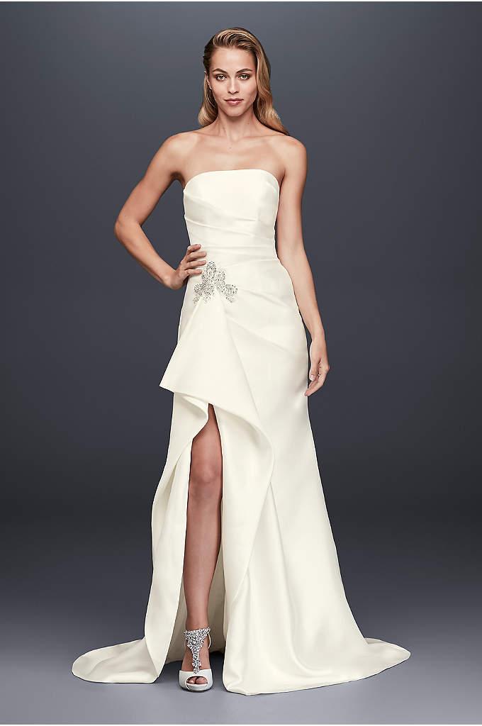 Mikado Sheath Wedding Dress with Slit Skirt - So stunning! This mikado sheath wedding gown is