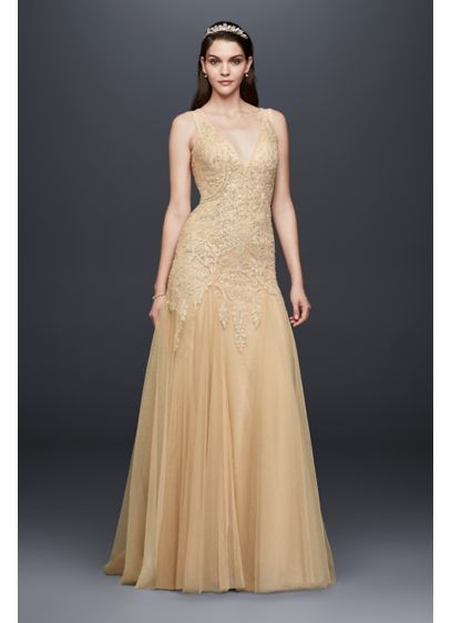 Beaded Plunging V-Neck Wedding Dress with Godets - This glamorous, gilded wedding dress features a plunging