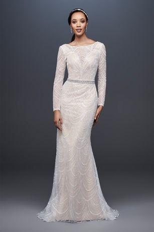 Allover Sequin Art Deco Sheath Wedding Dress | David's Bridal | Tuggl