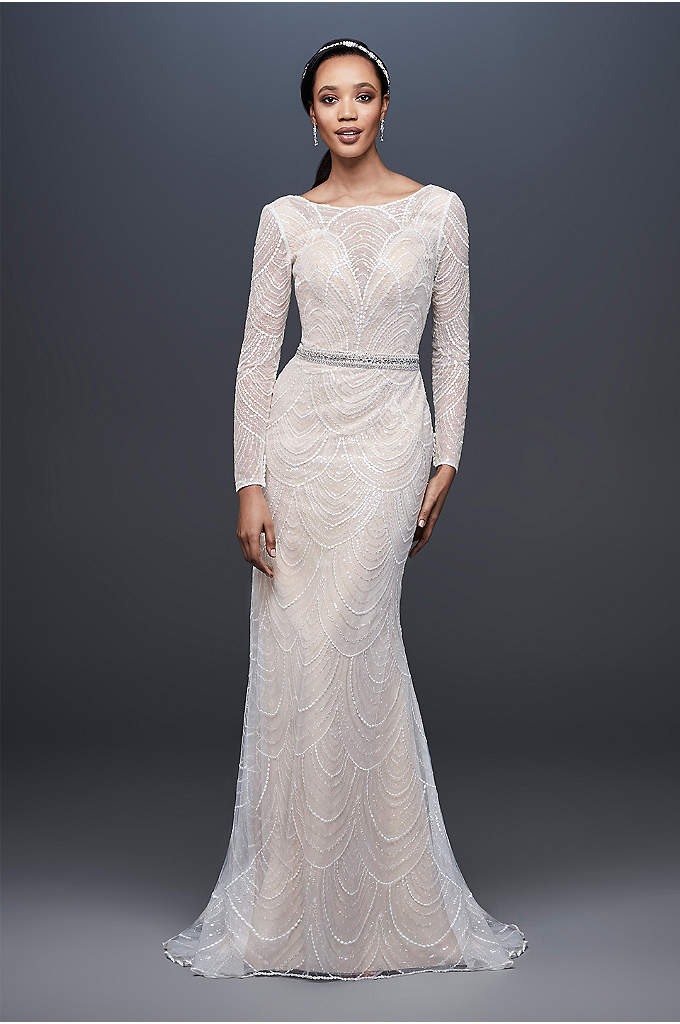 Allover Sequin Art Deco Sheath Wedding Dress - This beaded sheath wedding dress combines a simple