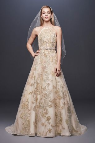 Gold Wedding Dresses.Allover Lace Applique Halter Ball Gown David S Bridal