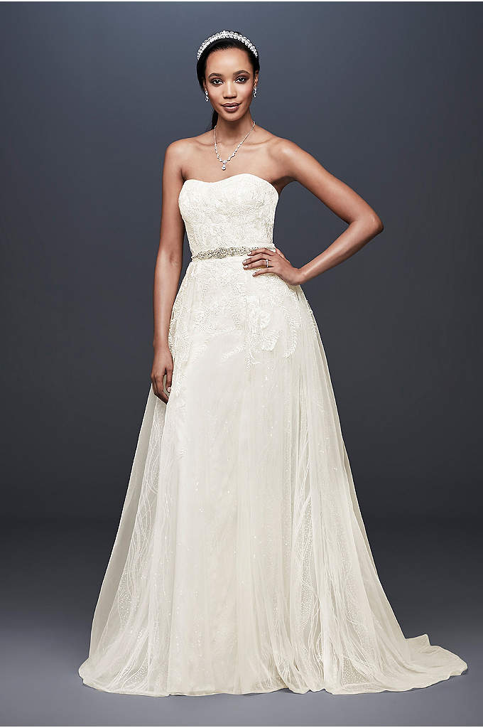 Sheath Wedding Dress with Detachable Overskirt - This lace sheath wedding dress is full of