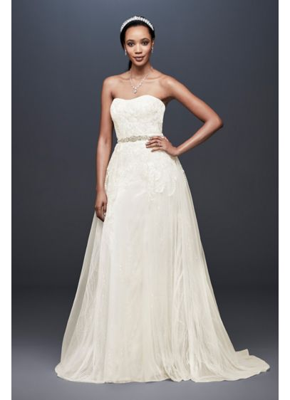 Sheath Wedding Dress With Detachable Overskirt