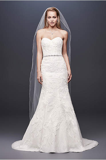 Beaded Lace Strapless Tulle Mermaid Wedding Dress