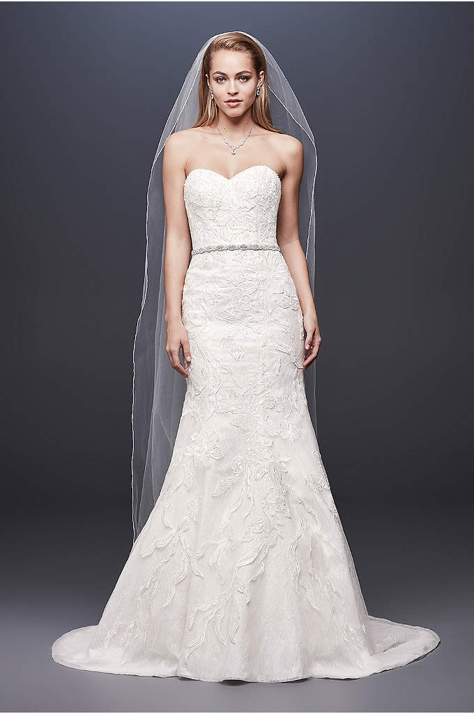 Beaded Lace Strapless Tulle Mermaid Wedding Dress - Tonal beading and sequins lend subtle sparkle to
