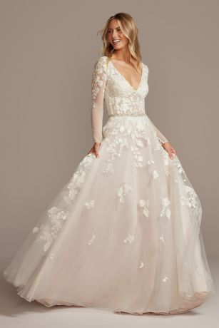 Plunging Ball Gown Wedding Dress