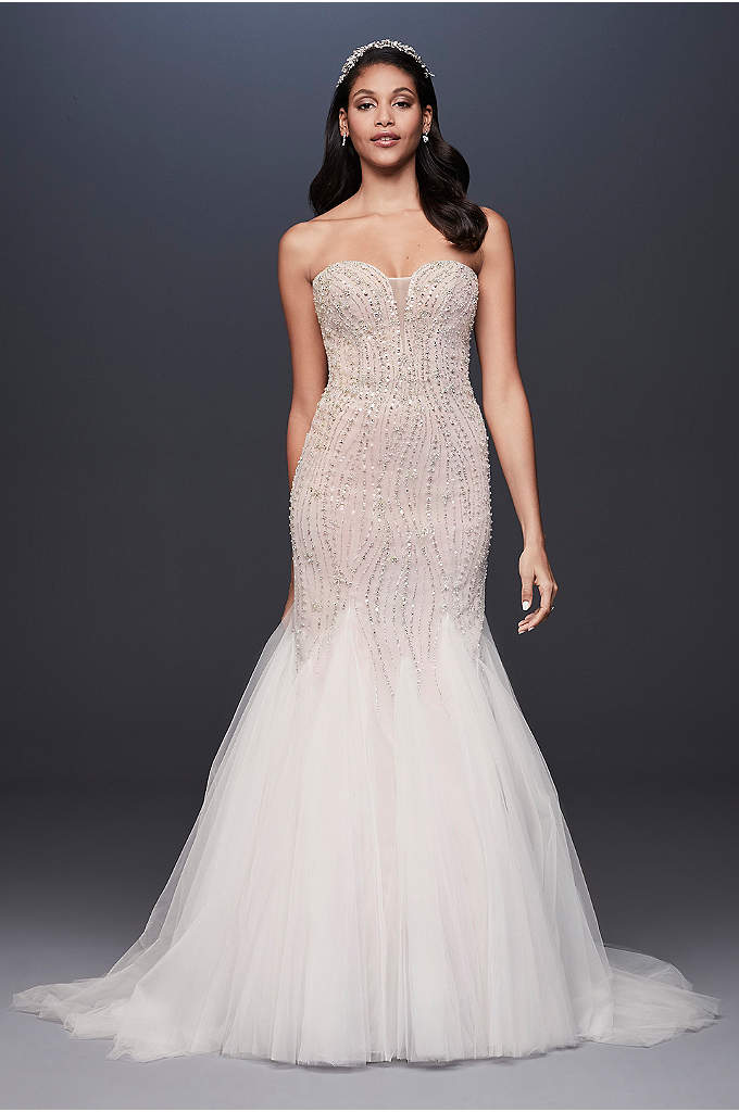 Beaded Tulle Sweetheart Trumpet Wedding Dress