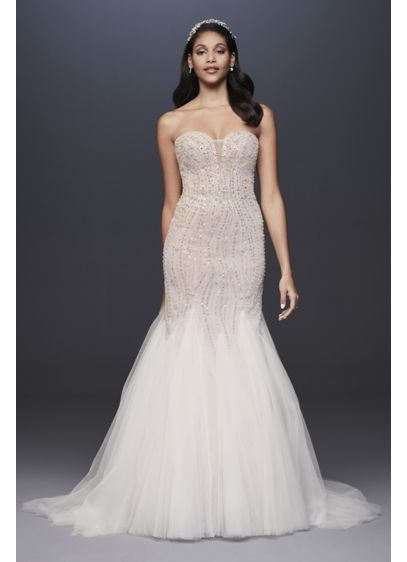 Beaded Tulle Sweetheart Trumpet Wedding Dress - Encrusted with body-contouring beads and sequins, and finished