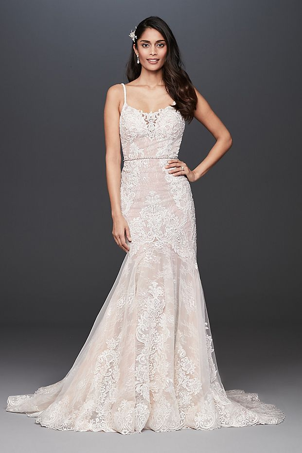 Lace Mermaid Wedding Dress with Moonstone Detail