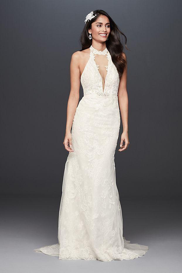 Plunge Neckline Lace Halter Wedding Dress
