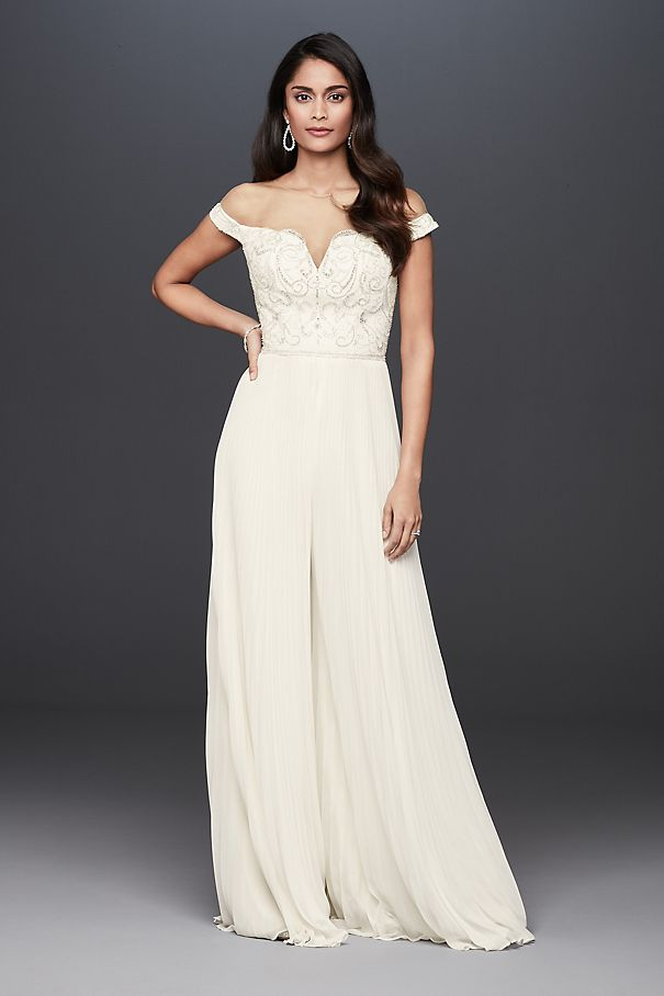 Beaded Illusion Off-the-Shoulder Wedding Jumpsuit