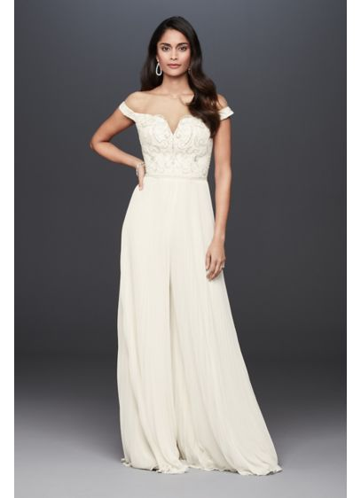 Beaded Illusion Off-the-Shoulder Wedding Jumpsuit - A surprising twist on a classic bridal look,