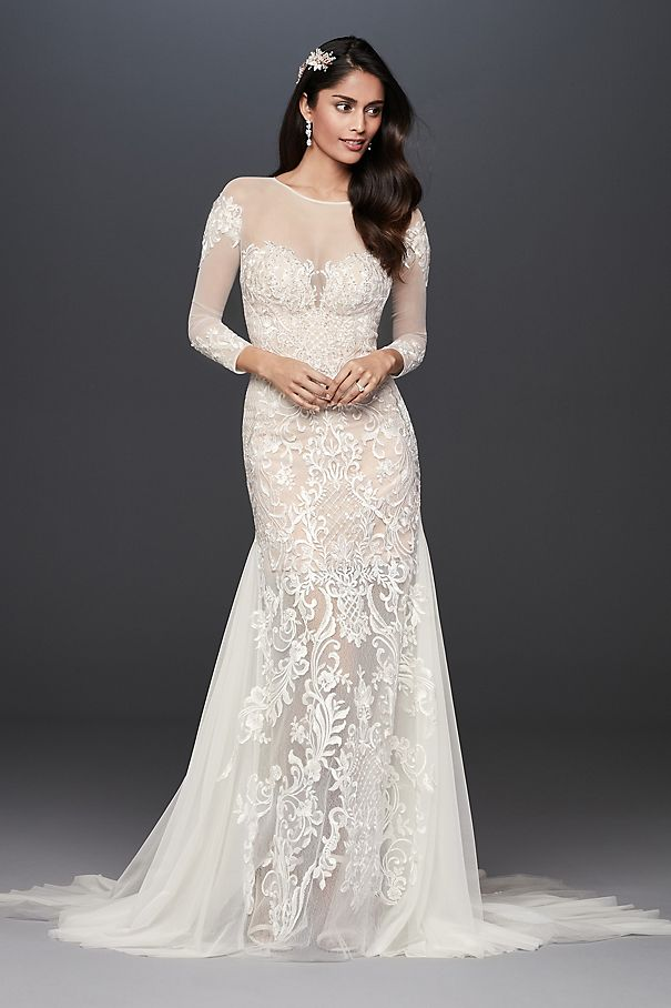Illusion Applique and Tulle Godet Wedding Dress