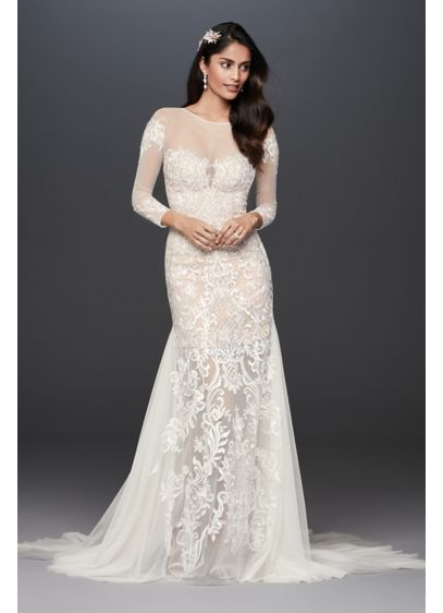 Illusion Applique and Tulle Godet Wedding Dress - Anything but ordinary, this sultry sheath wedding dress