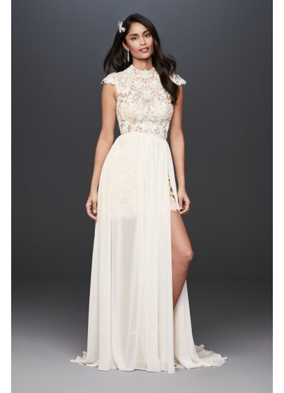 High-Neck Lace Bodice Wedding Dress with Overskirt - Cap sleeves and a high neckline juxtapose an