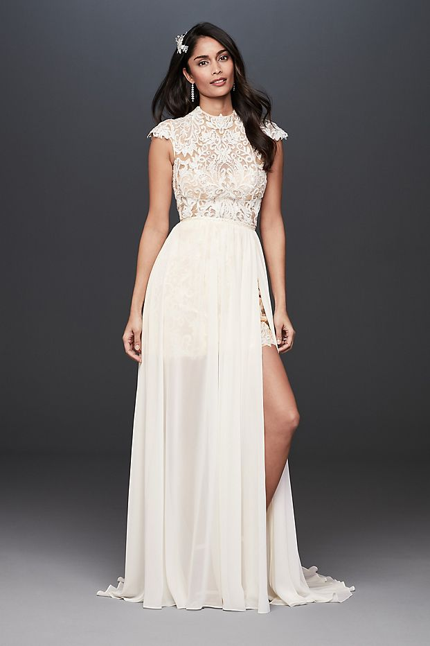 Plunge Neckline Lace Halter Wedding Dress