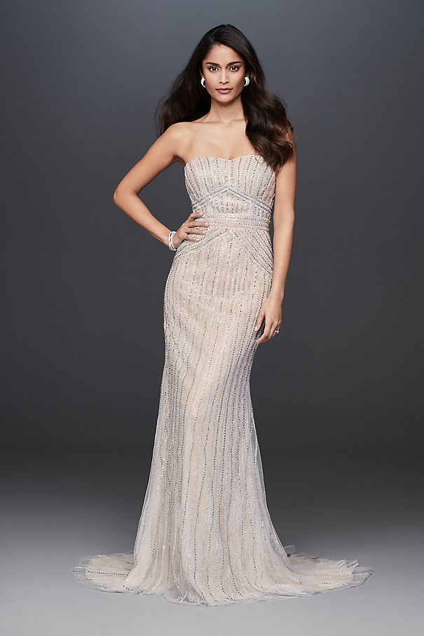 Deco Beaded Strapless Lace Sheath Wedding Dress