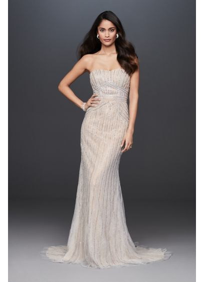 Deco Beaded Strapless Lace Sheath Wedding Dress - Linear crystal chains, crafted of five distinct types