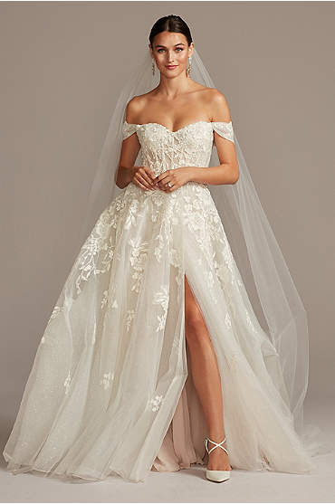 Floral Tulle Wedding Dress with Removable Sleeves