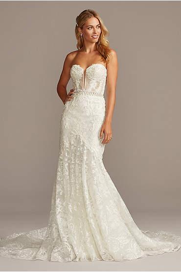 Beaded Brocade Embellished Mermaid Wedding Dress