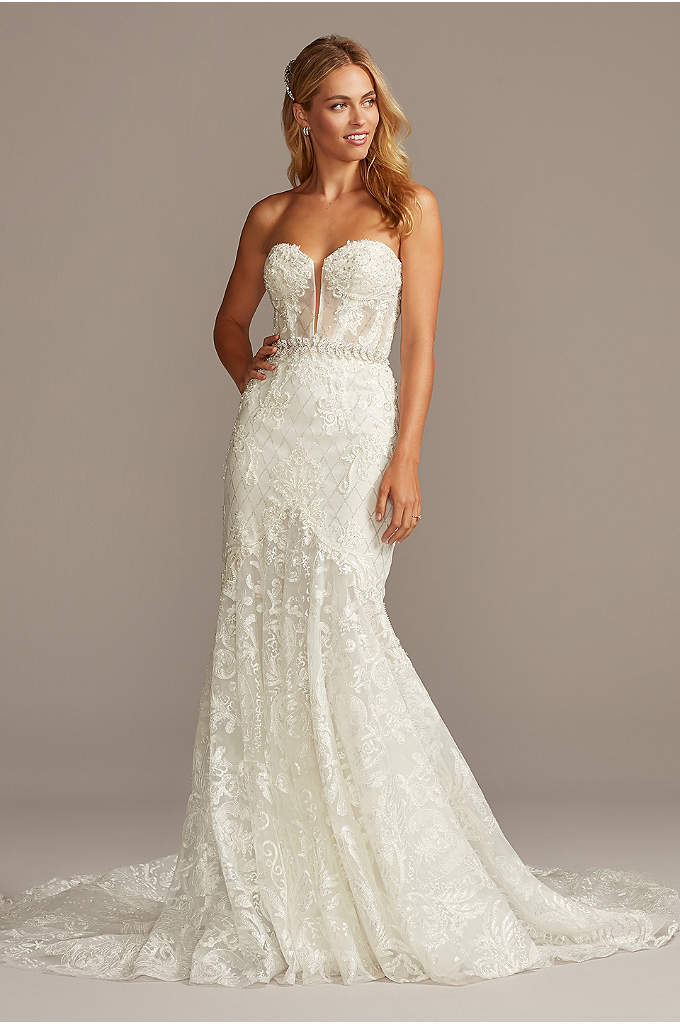 Beaded Brocade Embellished Mermaid Wedding Dress David S Bridal