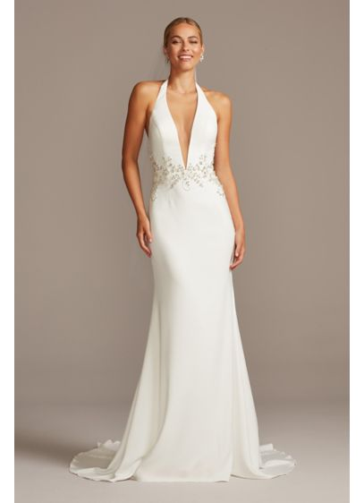 Embellished Waist Plunge Halter Wedding Dress - Perfect for the modern bride, this wedding dress