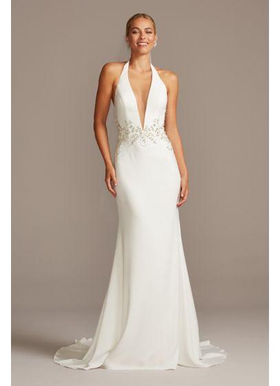 Embellished Waist Plunge Halter Wedding Dress David S Bridal