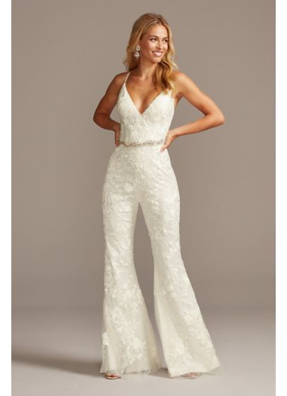 Floral Overlay Flare Leg Sequin Wedding Jumpsuit - The party will start as soon as you