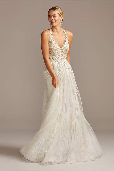 Floral Applique Open Back Tulle Wedding Dress