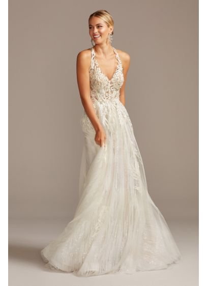 Floral Applique Open Back Tulle Wedding Dress - Perfect for the bride looking to dazzle, this