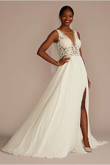 Lace Applique Illusion Chiffon Skirt Wedding Dress