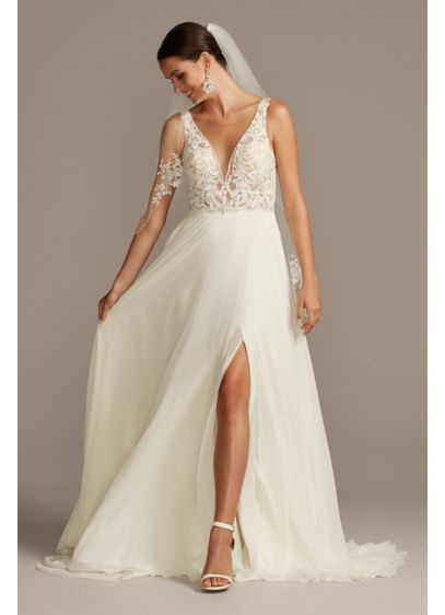 Lace Applique Illusion Chiffon Skirt Wedding Dress - Lace embellishments and barely there mesh panels create