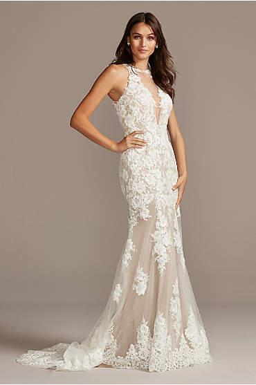 Illusion Sequin Floral Applique Wedding Dress