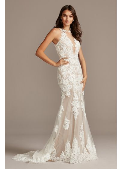 Illusion Sequin Floral Applique Wedding Dress - Feminine and romantic, this dreamy wedding dress is