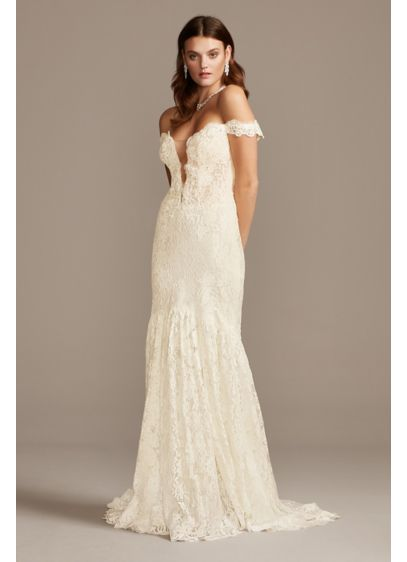 Off Shoulder Plunging Illusion Lace Wedding Dress - A beautiful look for the bold bride, this
