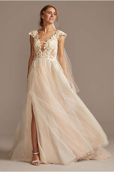 Illusion Cap Sleeve Lace Appliqued Wedding Dress