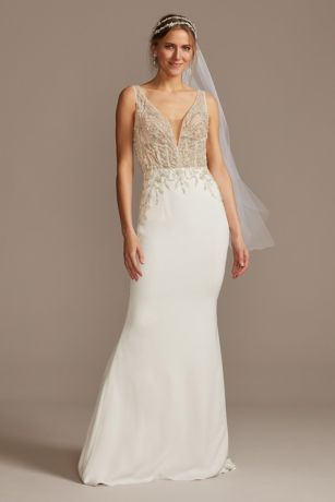 sheer plunge beaded corset crepe wedding dress  david's