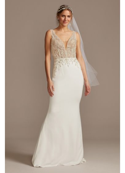 Sheer Plunge Beaded Corset Crepe Wedding Dress - Over 18,000 hand-beaded sequins, beads, and crystals form