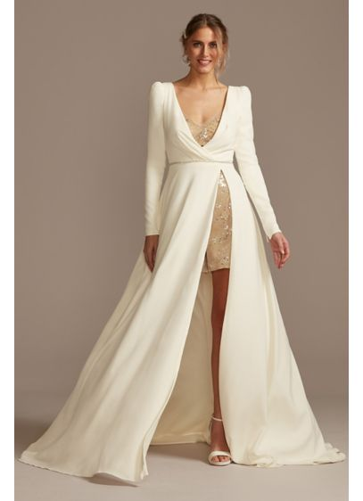 Two Piece Wedding Romper and Over Dress Set - Runway-ready and fashion-forward, this two-piece set is ideal