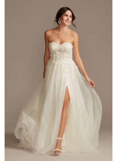 Floral Beaded Wedding Dress with Metallic Tulle - Airy and elegant, this wedding dress is crafted