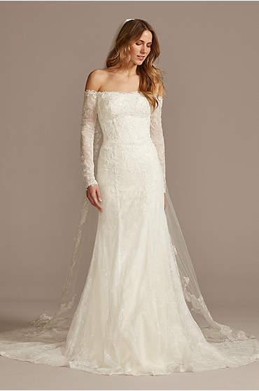 Long Sleeve Off Shoulder Sequin Lace Wedding Dress