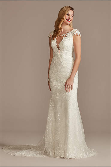 Tulle Sheath Wedding Dress with Beaded Swag Back
