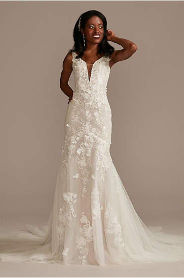 Beaded Lace 3D Floral Plunge Tulle Wedding Dress