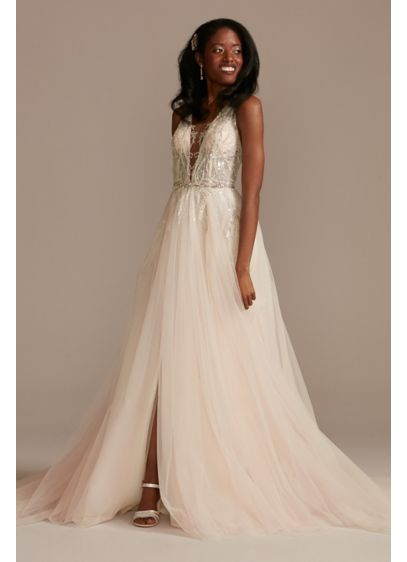Beaded Applique Plunge Wedding Dress with Slit - Crafted of crinkle glitter organza and tulle, this
