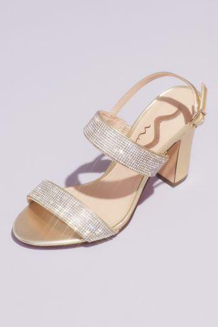 Nina Grey;Yellow Heeled Sandals (Pave Crystal Strap Slingback Block Heel Sandals)