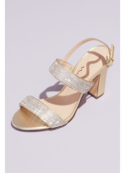 Pave Crystal Strap Slingback Block Heel Sandals - Rows of eye-catching pave crystals coat the front