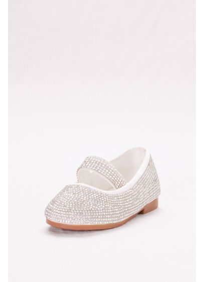 Blossom White (Toddler Crystal-Embellished Mary-Jane Flats)