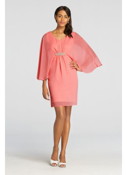 Short Sheath 3/4 Sleeves Cocktail and Party Dress - Connected Apparel