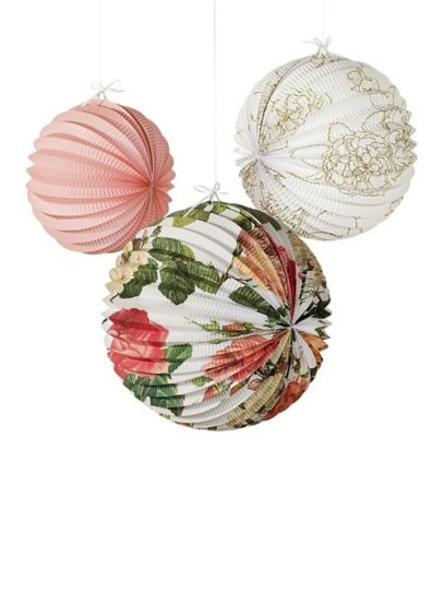 Floral Print Paper Lanterns Assortment - Hang these paper lanterns to brighten up a